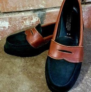 NEW eastland leather loafers black & tan sz 8